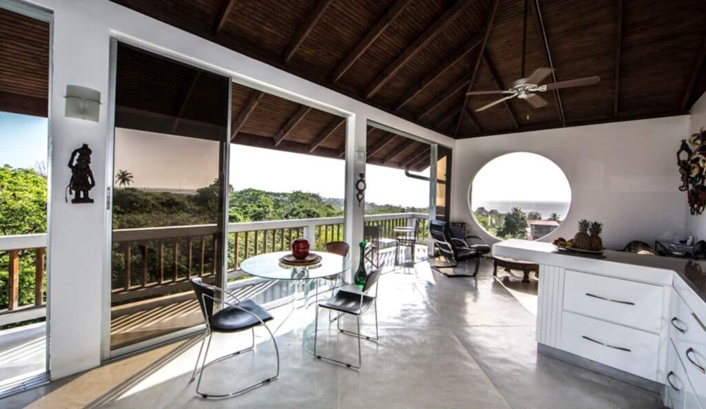 balcony at firefly treetop villa- apartment for rent in Tobago