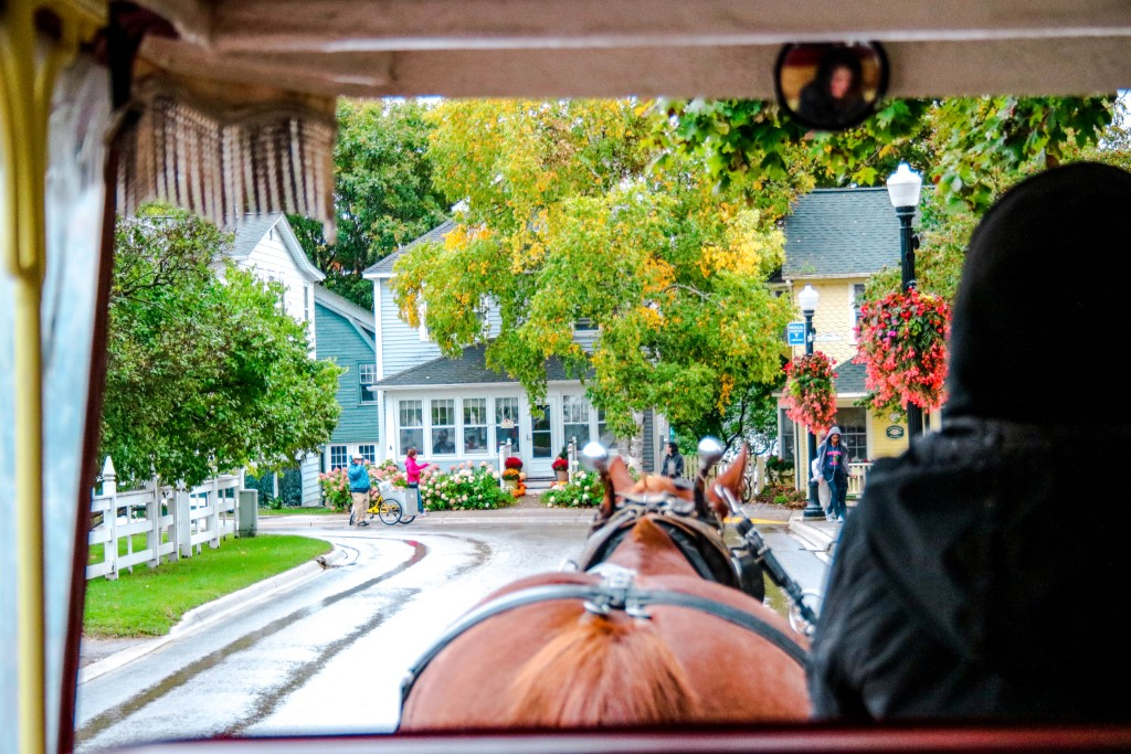 horse-drawn carriage on mackinac island for a grown-up getaway in the US