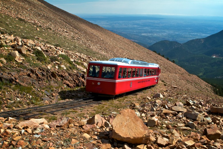Cog Railway train going up the Pikes Peak Mountain