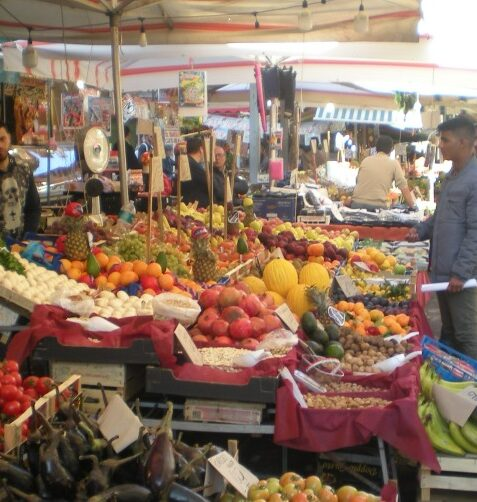 Great selection and variety of Palermo street market food at the vendor stalls