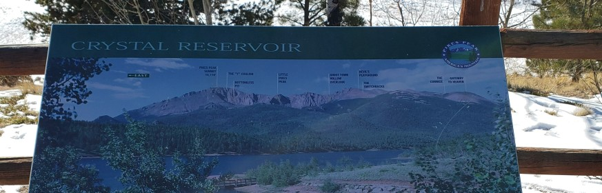 Labeled Mountains around Pikes Peak at Crystal Reservoir
