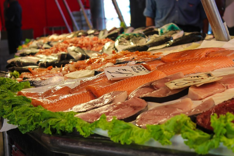 large selection of fish available at the Palermo street markets