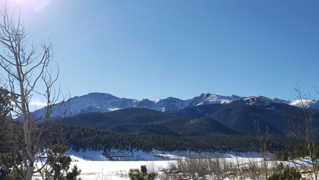 mountains- Panoramic view of Pikes Peak and surrounding