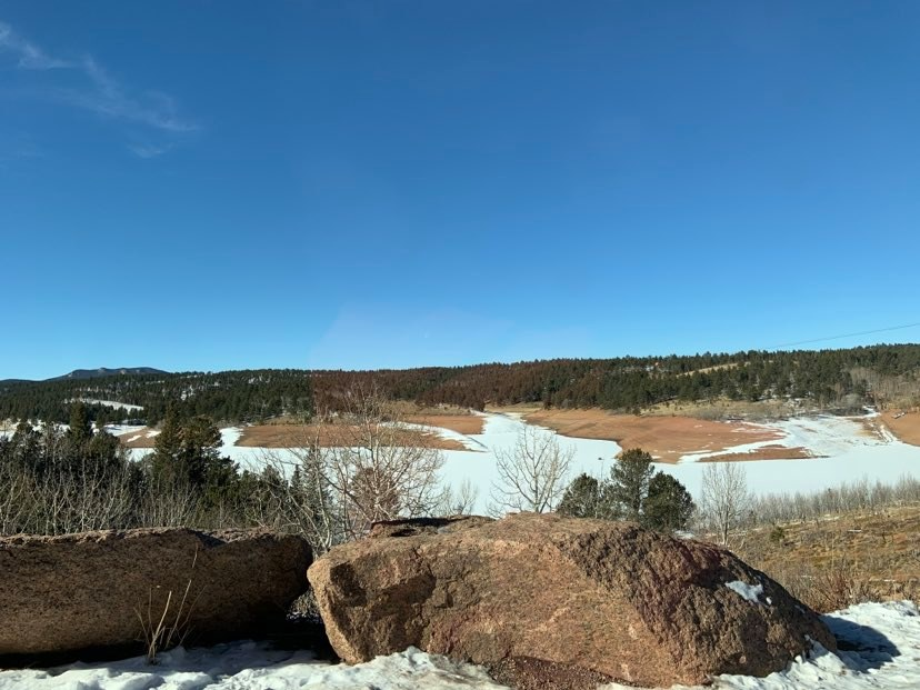 view of mountains and snow for hiking at pikes peak