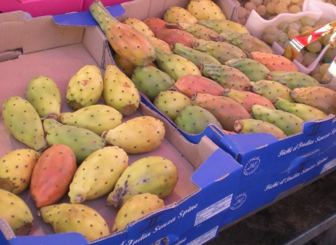 cartons of Prickly Pear fruit at the Palermo street food market