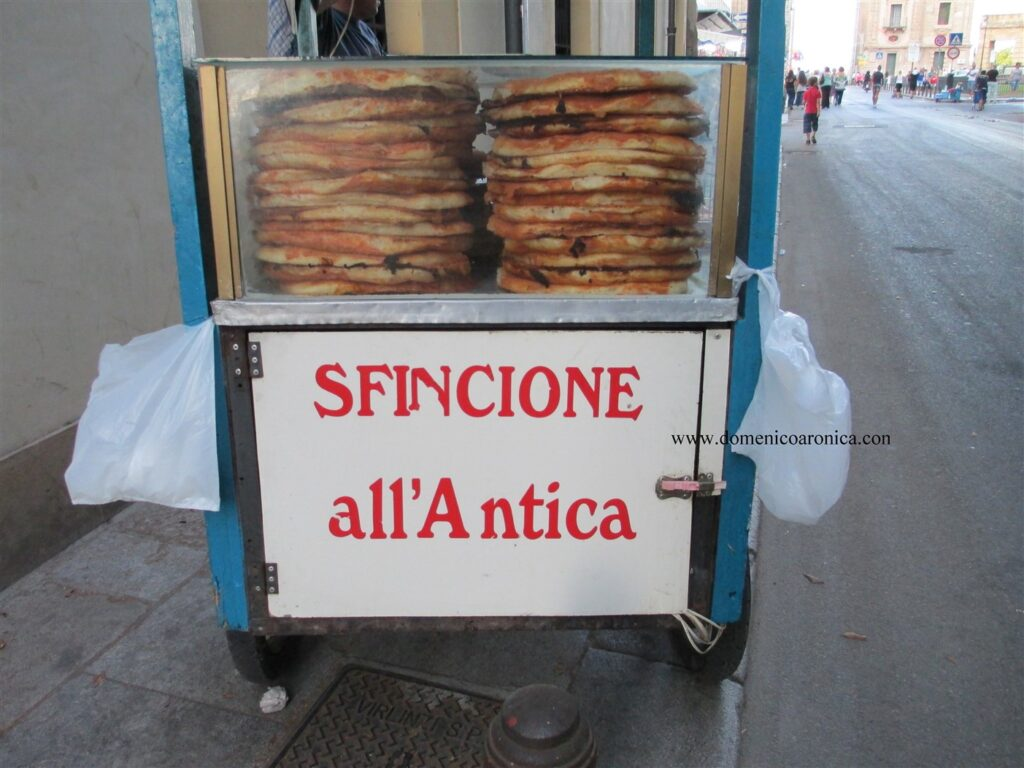 Cart of Sfincione- street market food