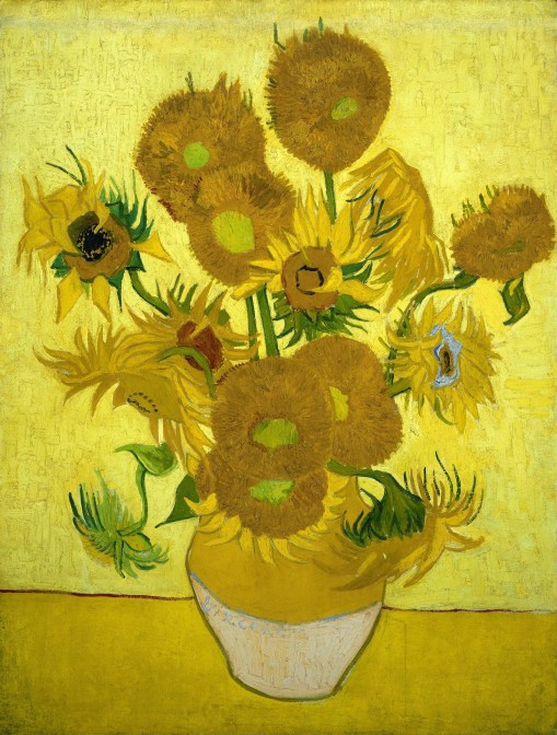 painting of sunflowers on a yellow background by vincent van gogh
