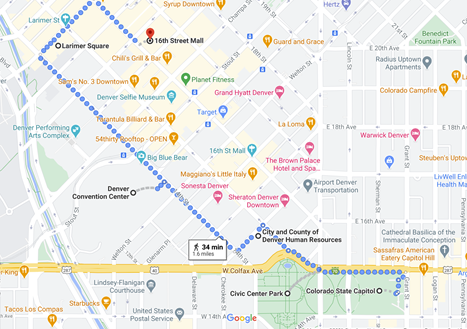 map of denver with 1 day walking tour highlighted