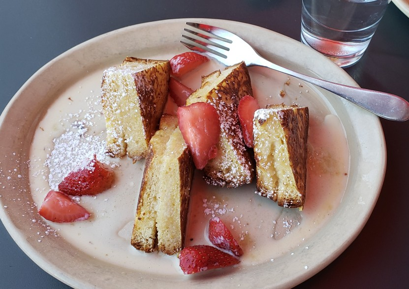 OMG French toast on a plate at Snooze eatery in Denver