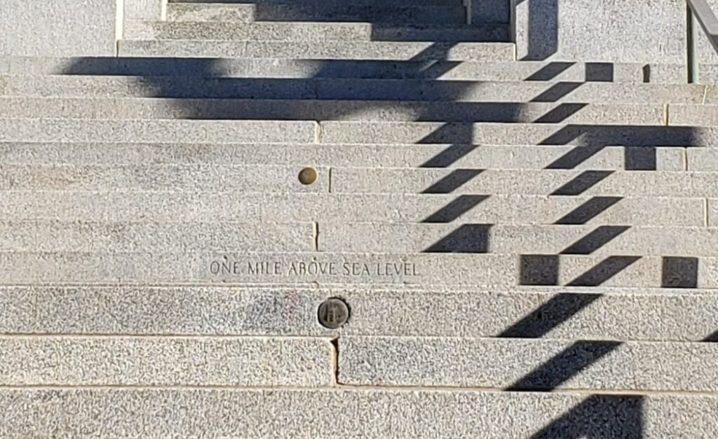 text on mile above sea - on Colorado State Capitol steps