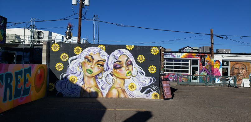 wall mural in Denver - girls with purple hair