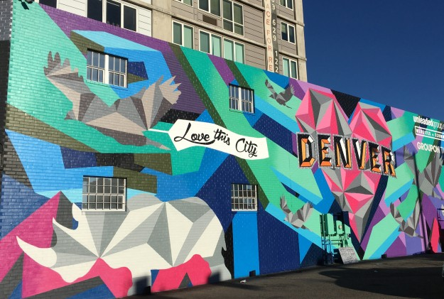 Mural with I LOVE DENVER in bright colors