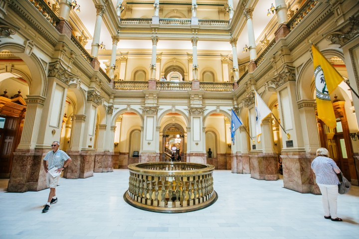 Golden lobby of Colorado State Capitol