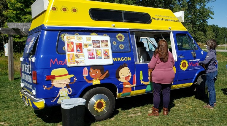Ice cream truck at the Prayers from Maria Sunflower field in Ohio
