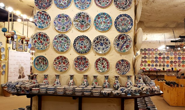 lots of colored ceramics at the Avanos pottery workshop in turkey