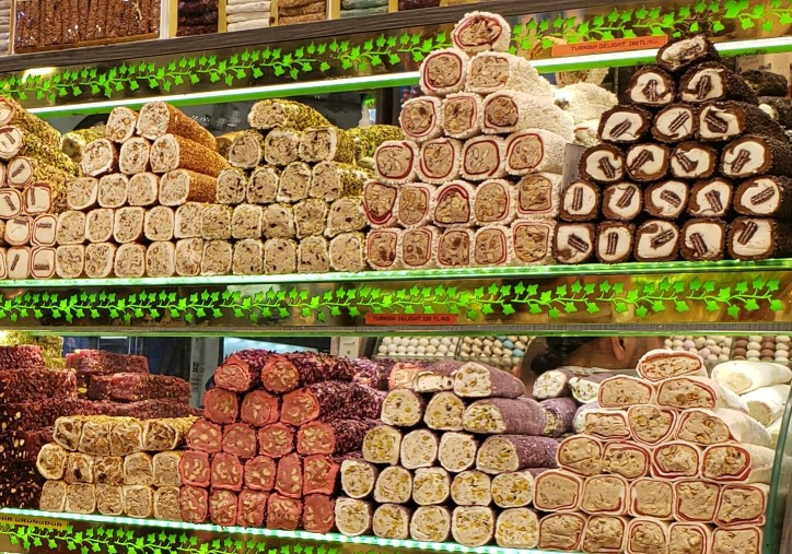 shelves of turkish delight souvenirs for sale at the grand bazaar in istanbul