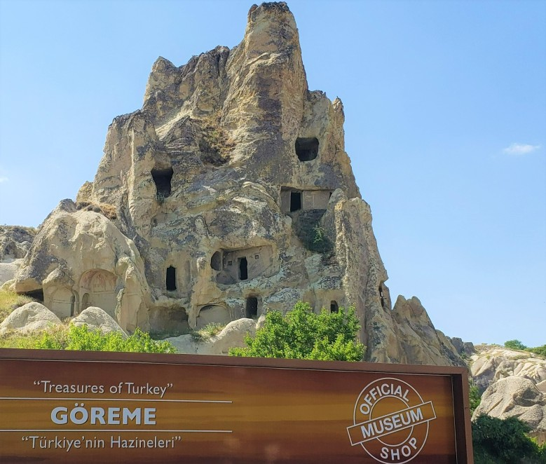 large rock dwelling at entrance of Goreme Museum on a two-day trip in Cappadocia