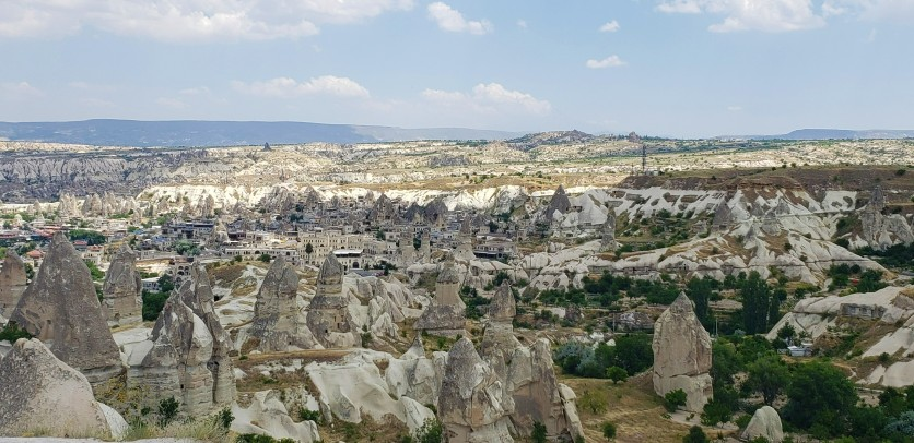 Lanscape and overlook of the city of Goreme at the overlook in Cappadocia