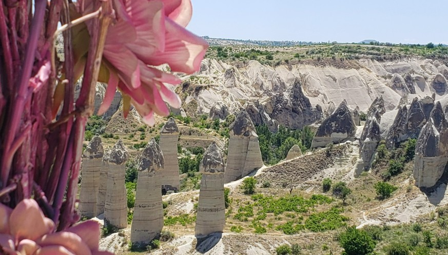 valley with rock formations jutted out of the ground in Cappadocia for a 2 day itinerary