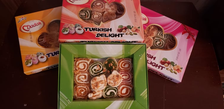 many boxes of Turkish Delight as a souvenir from Turkey