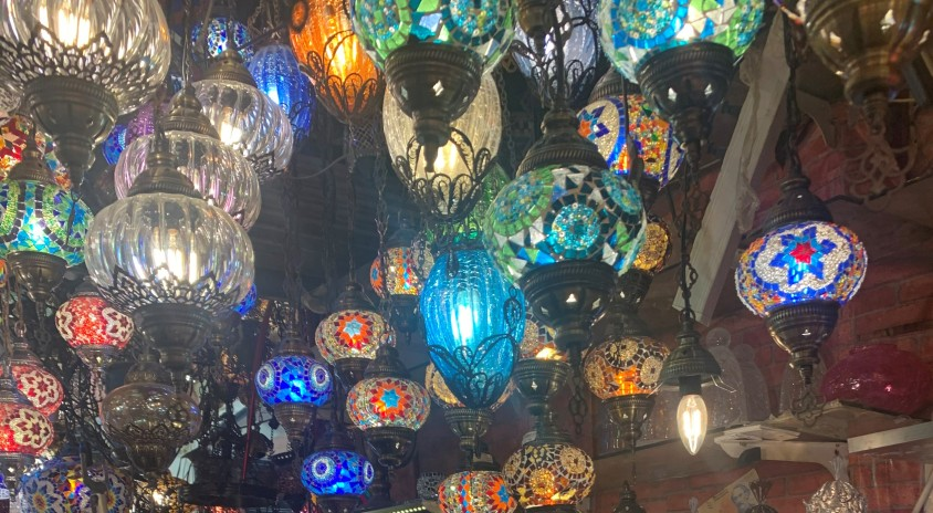 large assortments of colorful turkish lamps to buy in turkey