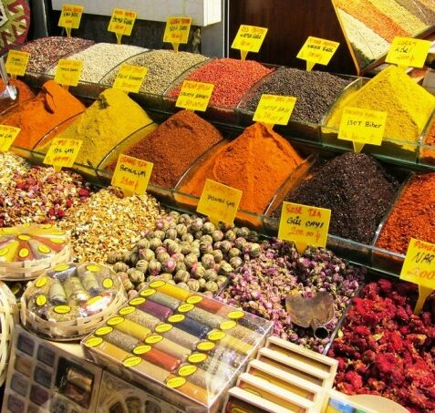 bins of spices for sale at the Spice Bazaar in Turkey