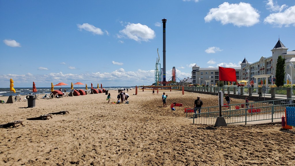 shoreline and roller coasters visible on Cedar Point Beach in Ohio