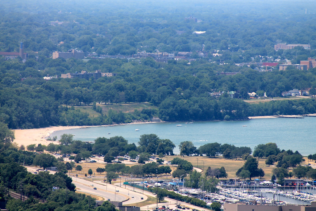 aerial view of the best beaches in cleveland at Edgewater beach
