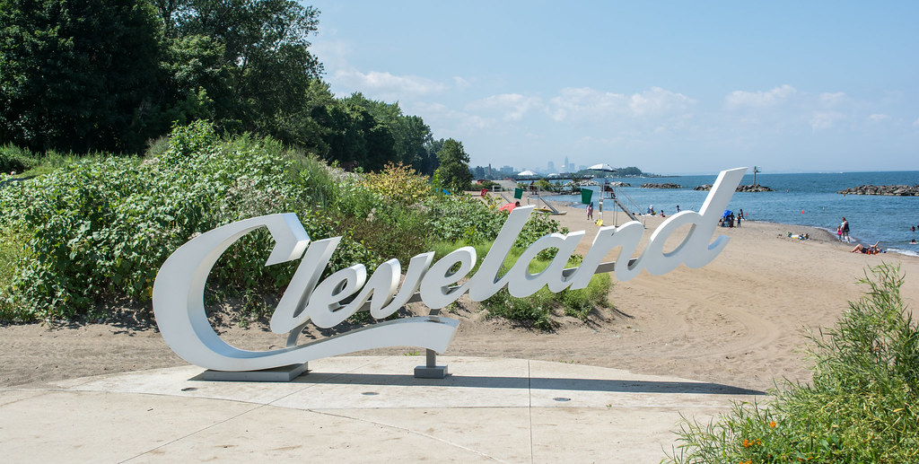 Euclid Beach with Cleveland Sign