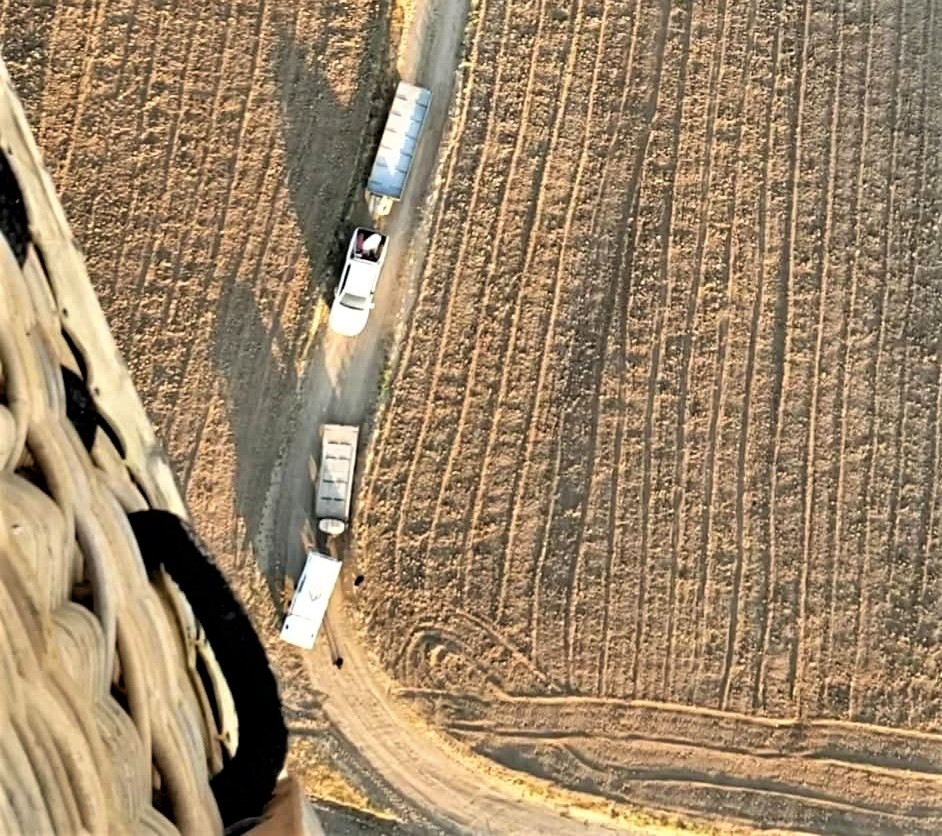 dirt fields with truck and trailer for landing the Hot Air Balloon in Cappadocia Turkey