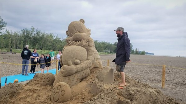 sand sculpture at Headlands State park beach on Lake Erie