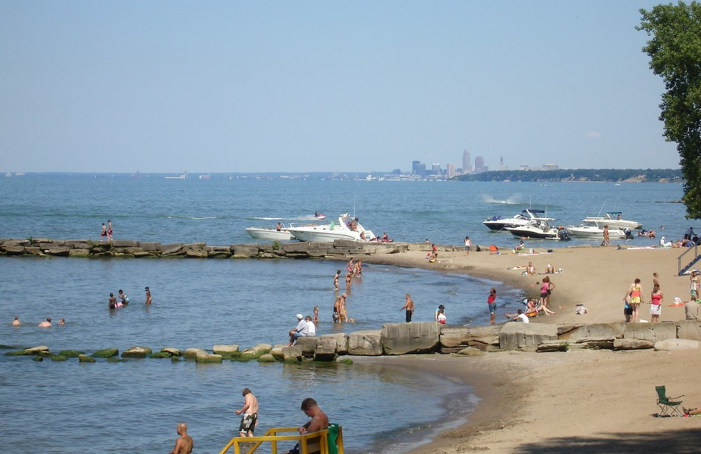 Lots of people on Huntington Beach with Downtown Cleveland