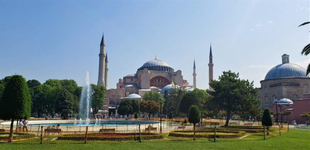 fountains and Hagia Sophia in Istanbul
