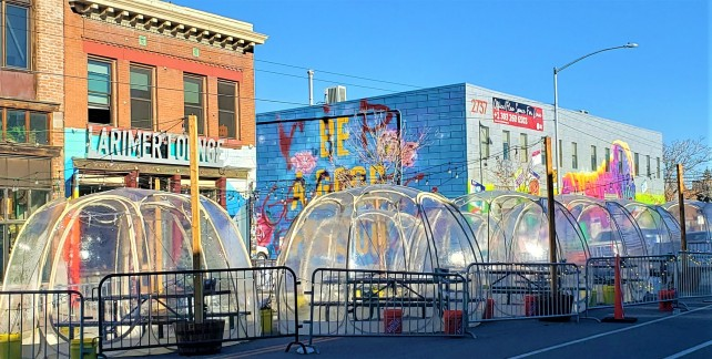Bubble Dome in front of buildings on the street - Where to eat in Denver Colorado