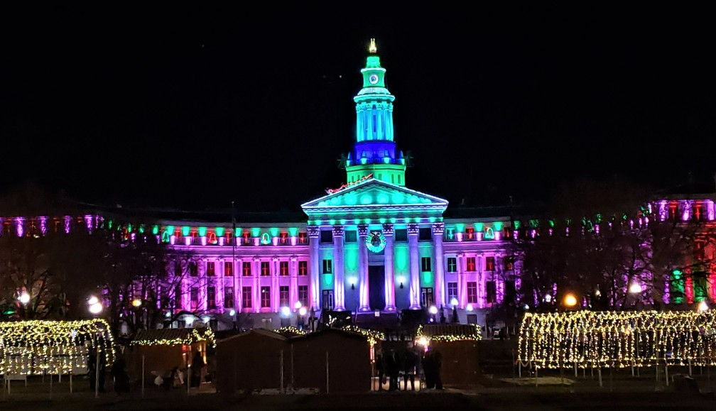 City and County Building - light display in denver in winter