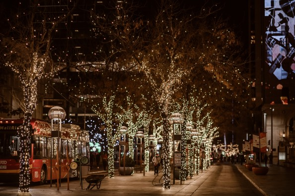 16th street mall in denver in winter with holiday lights