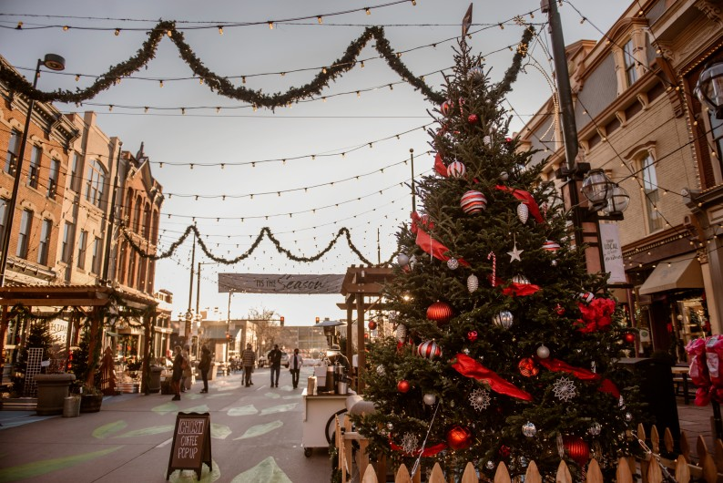 Larimer Square in Denver in December in winter during the holidays