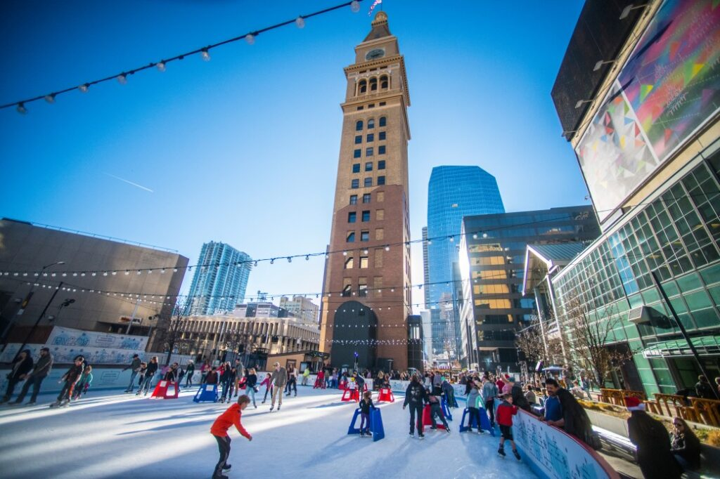 ice skating in downtown Denver as one of the many winter activities in Denver Colorado