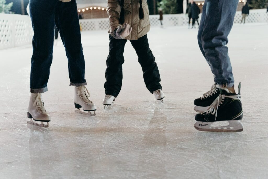 ice skates on the ice in for a denver winter activity